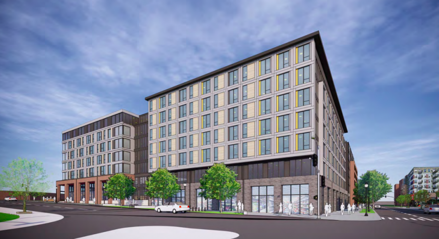 A concept rendering for the large-scale residential project, which would redevelop the site of McDonald's, Subway and TCF Bank