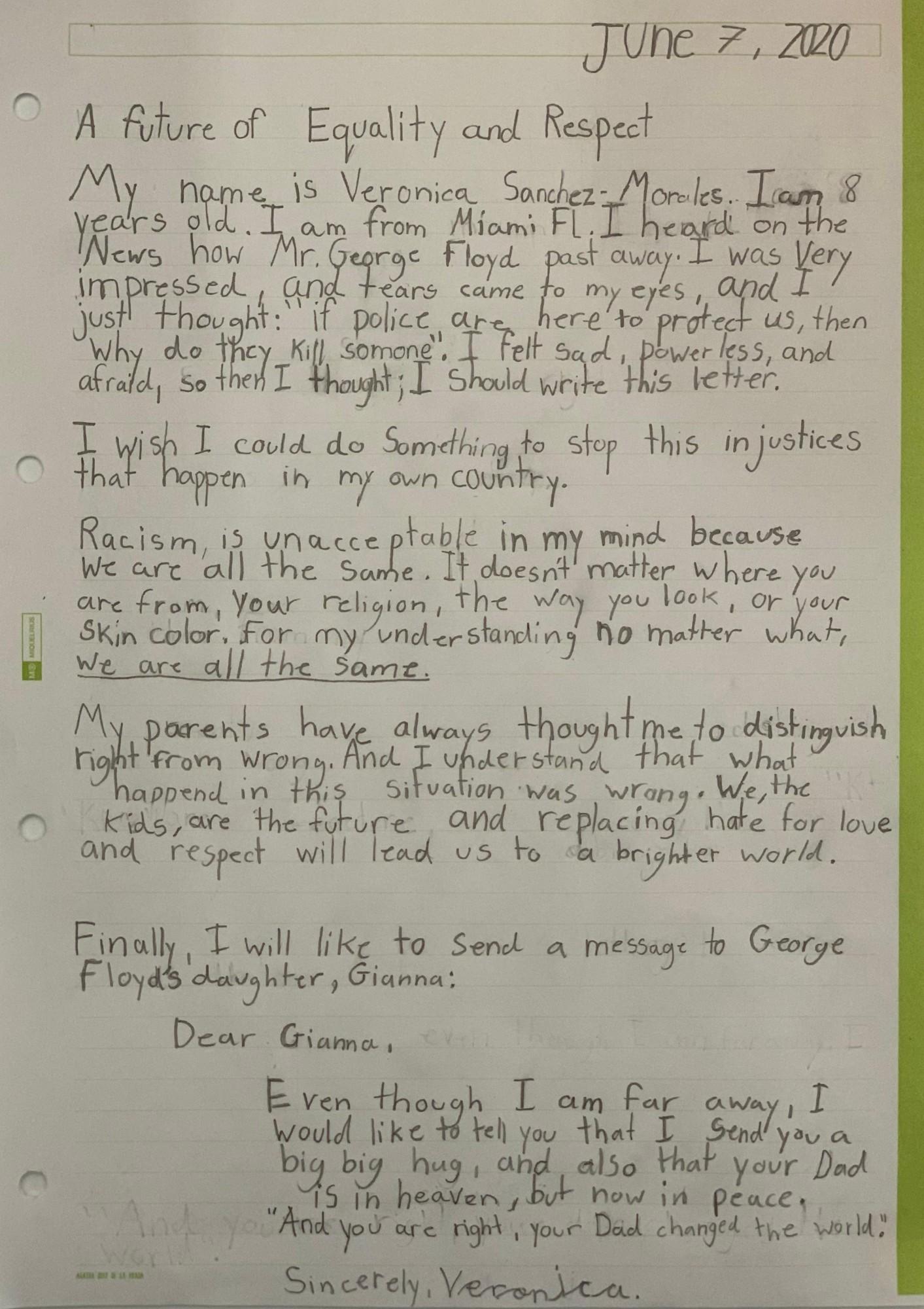 Veronica Sanchez Letter