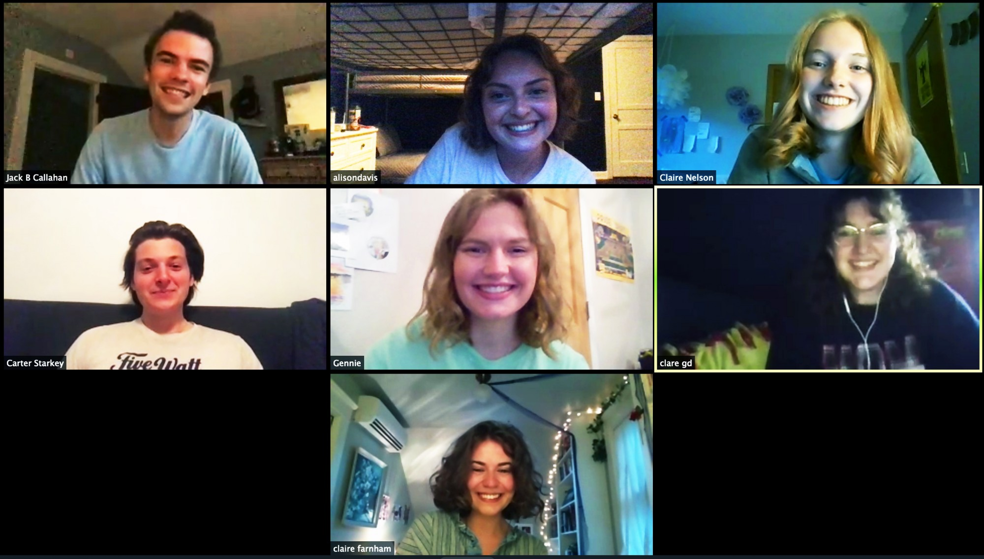 <p>Censorquip members Jack Callahan, Alison Davis, Claire Nelson<br> Carter Starkey, Genevieve Krause, Clare Graney-Dolan, and Claire Farnham, from top left, meet virtually to discuss their upcoming show, As Seen on TV on Sunday, June 21.</p>