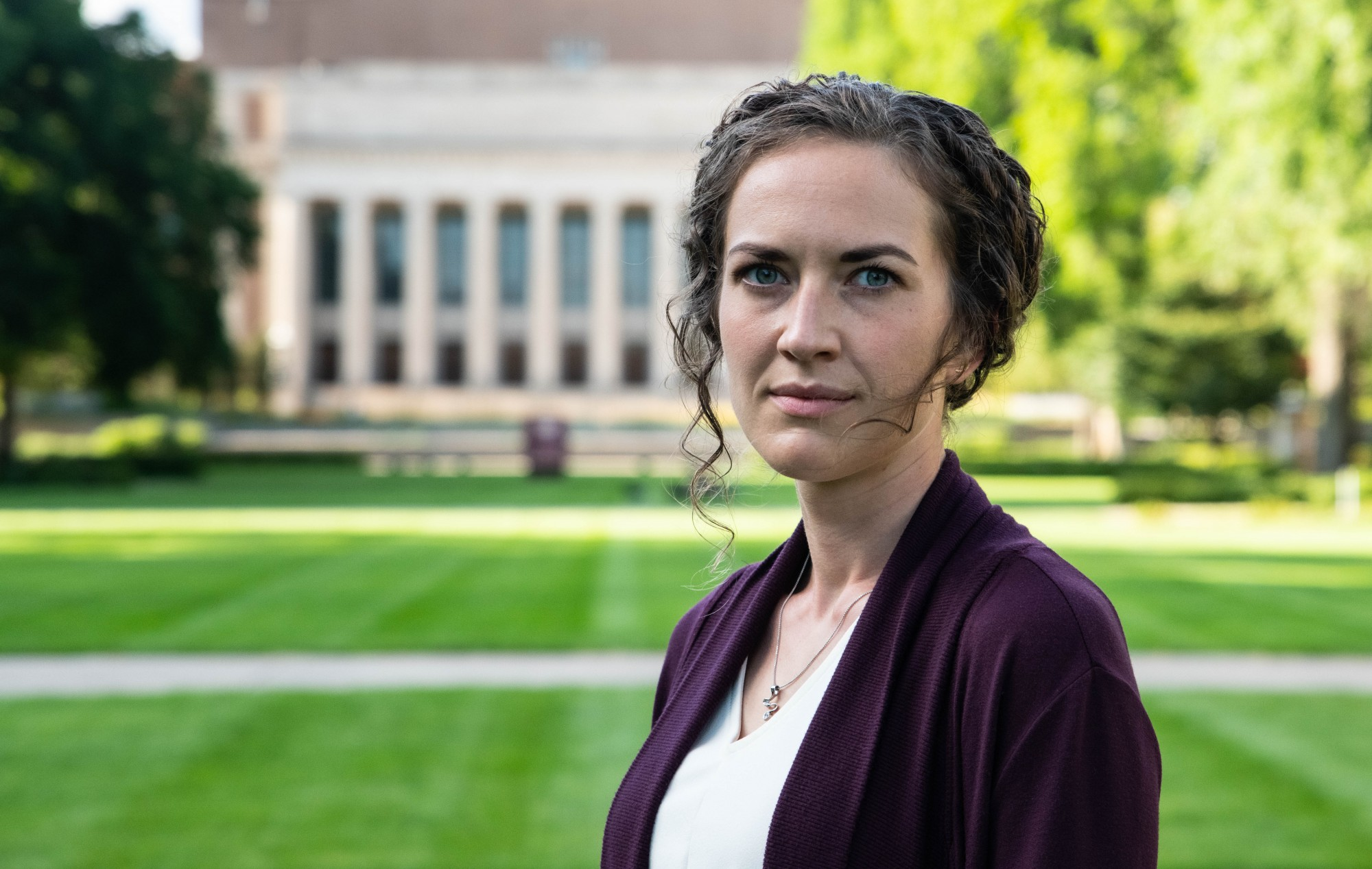 Brianna Engelson, a first-year psychiatry resident and recent graduate of the University of Minnesota Medical School, poses for a portrait on the UMN campus on Tuesday, July 21. Engelson has been conducting research on medical students' perceptions of mental illness and therapy.
