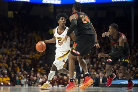 Gophers Guard Marcus Carr dribbles the ball up the court at Williams Arena on Wednesday, Feb. 26, 2020. The Gophers went into the second half with a 47-31 lead over the Maryland Terrapins.