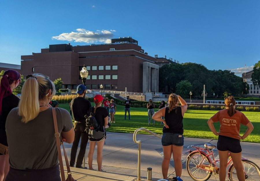 """The only way that movements like this are powerful is if we have all y'all there to support us, when they do try to take somebody out of the movement, when they do try to repress us,"" said University student Olivia Krull at Memorial Union rally on Saturday, Aug. 29. Krull was referring to the arrest of a Kenosha activists, including a Students for a Democratic Society member."