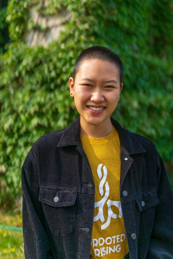 Uprooted and Rising Campaign Co-Lead Meredith Song poses for a portrait at Northrop on Sunday Sep. 20.  Uprooted and Rising is a group striving to promote food sovereignty within the University of Minnesota system.