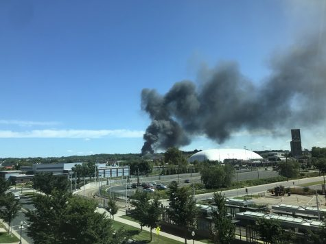 Dark gray smoke from a building fire blew to the Stadium Village and Prospect Park neighborhoods near the University of Minnesota Tuesday morning.