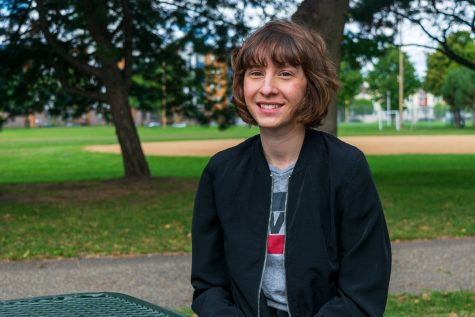Fulbright Fellow Corrie Nyquist poses for a portrait at Van Cleve Park on Thursday, Sep. 3.