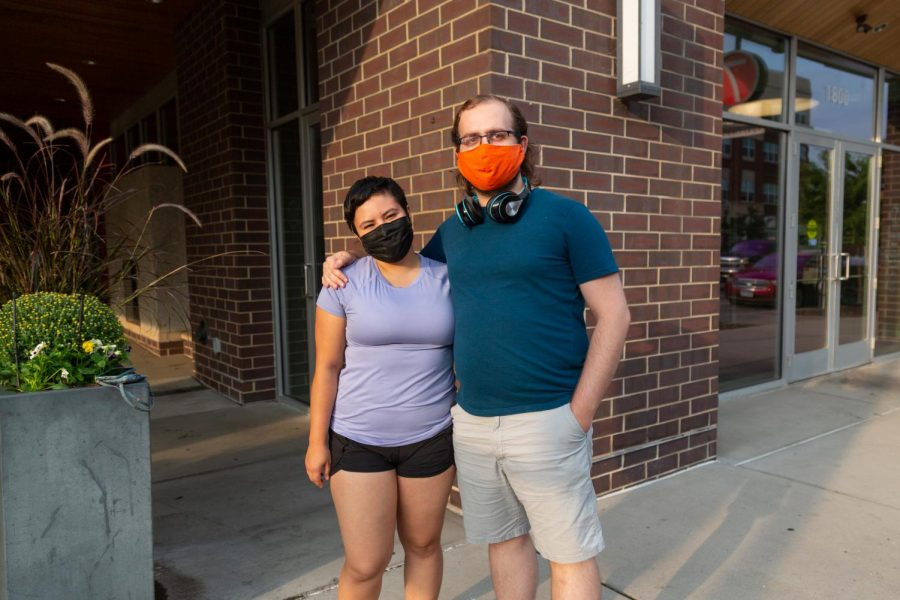 From left, Alexandria Alvarez and Alexander Stephenson would typically vote outside the bipartisan system, yet in an election such as this one, and despite problematic statements from Biden, they believe that they are choosing the lesser of two evils. They spoke on this outside their West Bank apartment on Wednesday, Sep. 23.