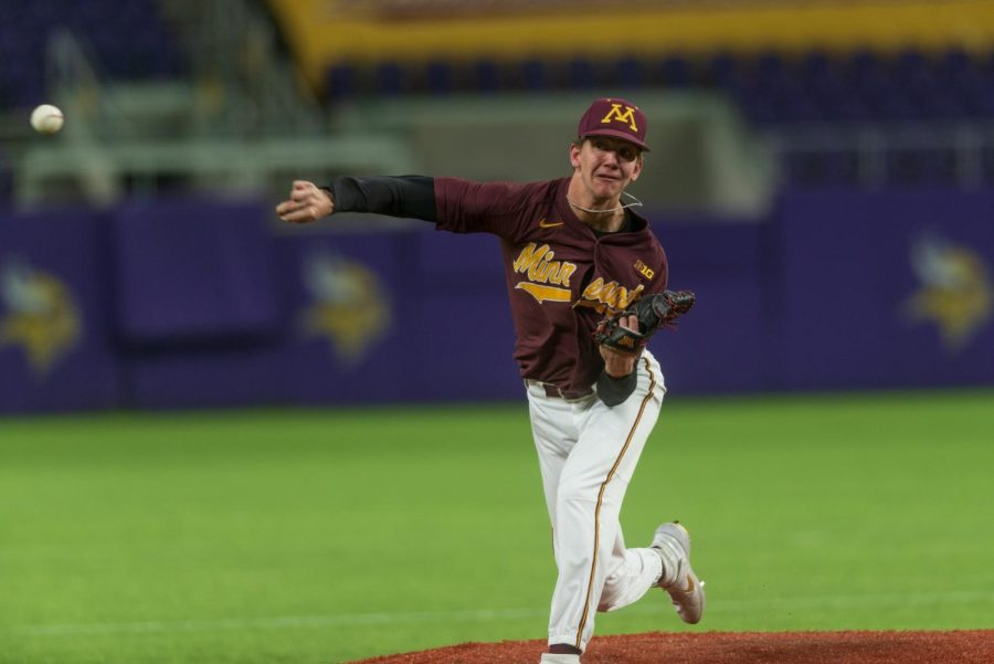 Gophers+Pitcher+Trent+Schoeberl+launches+a+pitch+at+U.S.+Bank+Stadium+on+Tuesday%2C+March+3.+%28Kamaan+Richards+%2F+Minnesota+Daily%29