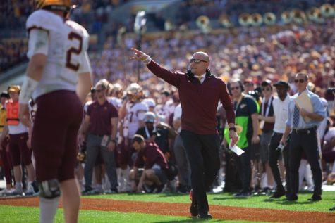 Gophers Head Coach P.J. Fleck calls out to a referee at Raymond James Stadium in Tampa, Florida on Wednesday, Jan. 1. Minnesota holds a 24-17 lead over Auburn heading into the third quarter of the Outback Bowl. (Kamaan Richards / Minnesota Daily)