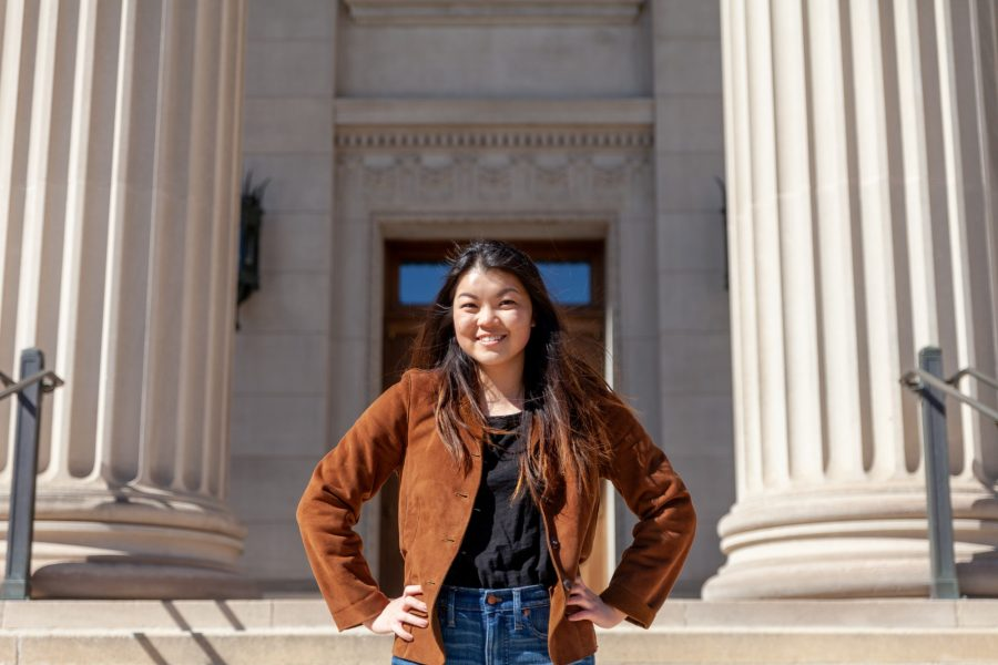 Newly elected MSA President Amy Ma poses for a portrait outside of the Northrup Auditorium on Sunday, April 19.