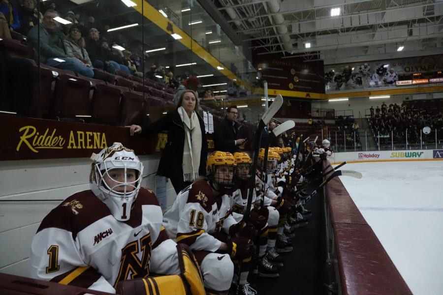 Members+of+the+Gophers+women%27s+hockey+team+watch+play+from+the+bench+at+Ridder+Arena+on+Friday%2C+Feb.+28.+The+Gophers+scored+two+power-play+goals+on+the+way+to+a+4-2+victory+over+St.+Cloud+State.+%28Jasmin+Kemp+%2F+Minnesota+Daily%29