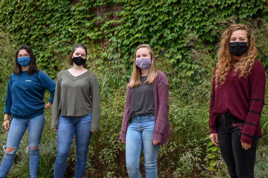 The UMN Dance Department's Peer Cast members, from left, Clara Marsh, Hunter Batterson, Rachel Brees and Kyra Rahn pose for a portrait at the Rarig Center on Monday, Sep. 7. Their first podcast is set to come out on Sep. 15.