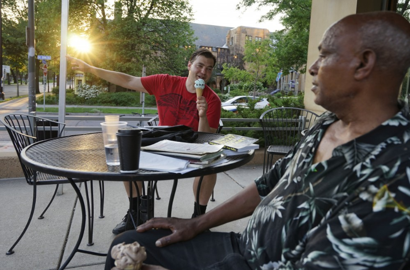 Joe and Johannse, long time Purple Onion patrons, enjoy ice cream cones on the patio on Saturday, May 26, 2018. In addition to coffee, the eatery served pizza, sandwiches and ice cream, among other things.