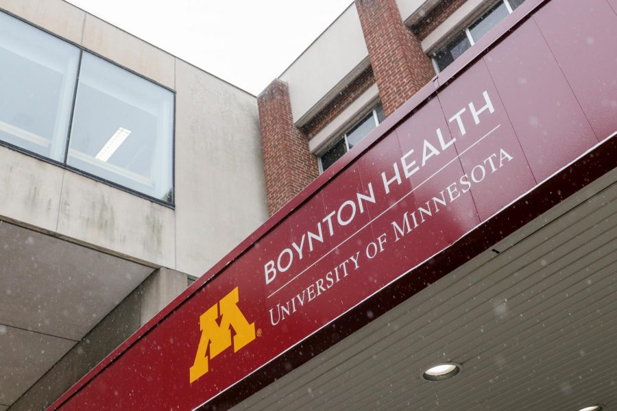 Boynton Health, the COVID-19 testing site for the University of Minnesota campus, sits empty on Sunday, Oct. 25.