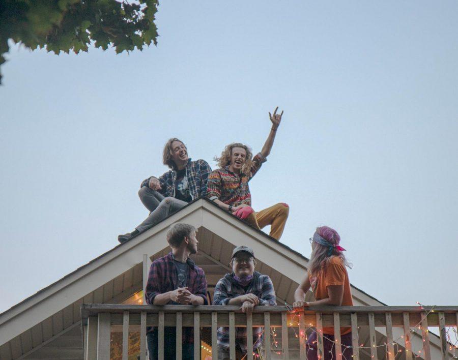 Funk N Spuds poses on member Max Meier's house in the Como neighborhood on Thursday, Oct. 8.