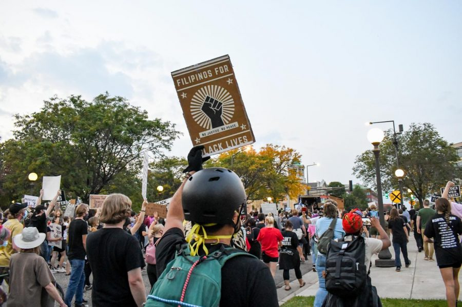 Demonstrators gather outside of the State Capitol to protest on Wednesday, Sep. 23. The protest, which began on the State Capitol mall and ended on Interstate 94, was in response to the recent decision in Louisville, Kentucky not to charge the officers involved in Breonna Taylor's killing.