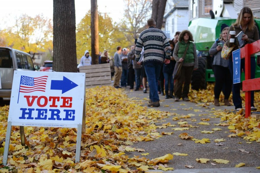 Voters+line+up+outside+of+First+Congressional+Church+in+the+Marcy+Holmes+neighborhood+on+Nov.+8%2C+2016.+Polls+opened+at+7+a.m.+and+hundreds+of+voters+came+out+early+to+cast+their+votes.