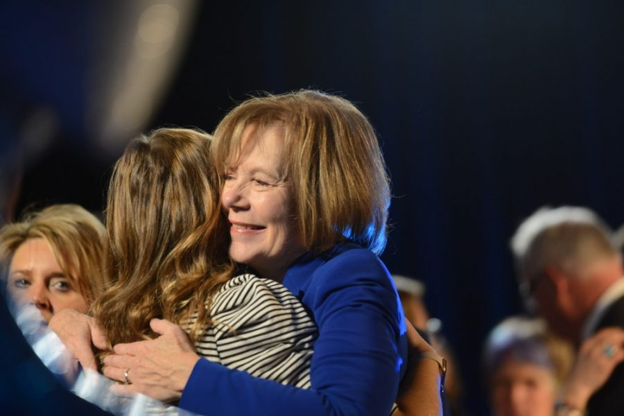 Tina Smith hugs a supporter during the DFL election party in Saint Paul on Tuesday, Nov. 6, 2018.