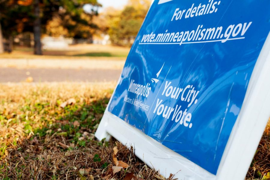A sign announces a ballot drop-off location in the parking lot of Bossen Field Park, in South Minneapolis, on Saturday, Oct. 10.  On the ballot, alongside a number of national, state, and local elections, are two important questions regarding the city of Minneapolis.