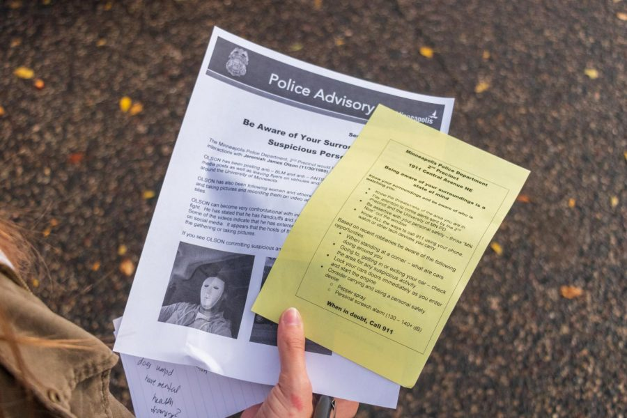 Flyers passed out to residents of the Dinkytown area during a neighborhood safety walk put on by the Minneapolis Police Department, on Thursday, Sep. 24.