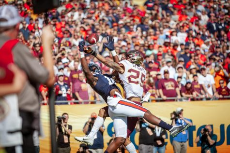 Gophers Defensive back Benjamin St-Juste leaps for an Auburn pass at Raymond James Stadium in Tampa, Florida on Wednesday, Jan. 1.