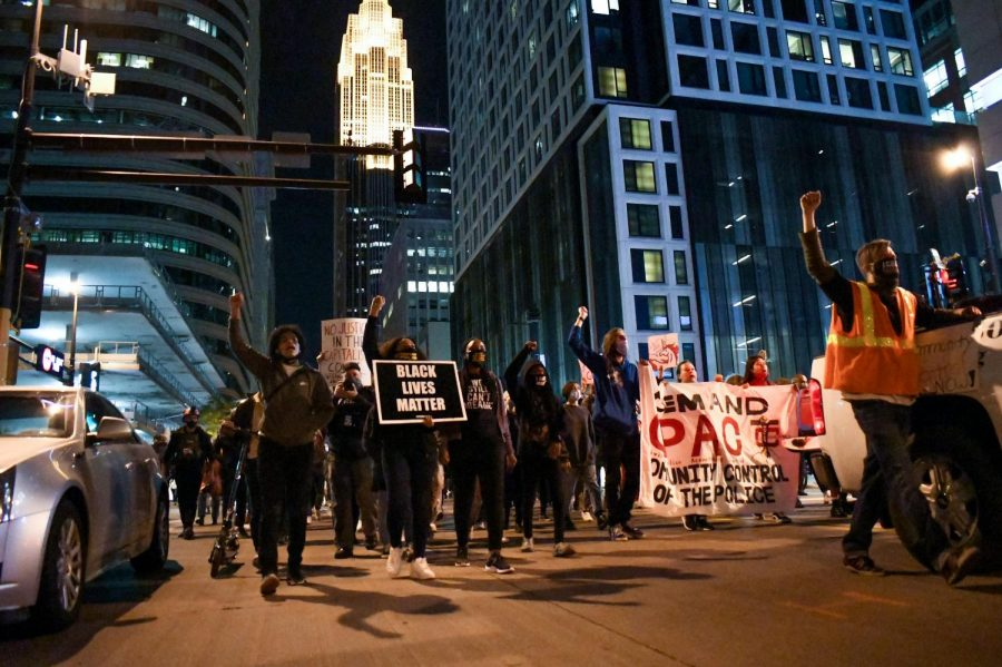 Demonstrators gather to protest former MPD Officer Derek Chauvin's release on bail outside of the Hennepin County Government Center on Thursday, Oct. 8. The demonstration began with speeches and ended with a march.