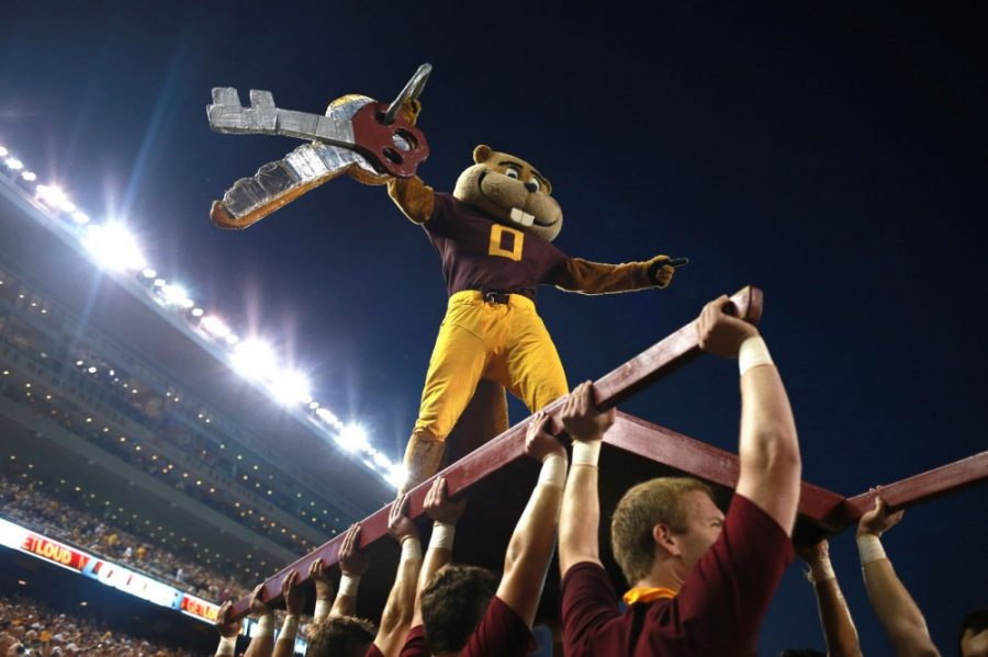 Goldy Gopher pumps up the crowd during kick off at TCF Bank Stadium as the Gophers face Texas Christian University on Sept. 3.