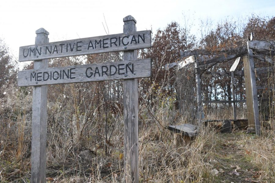 The University of Minnesota's Native American Medicine Garden stands empty on Friday, Nov. 6.