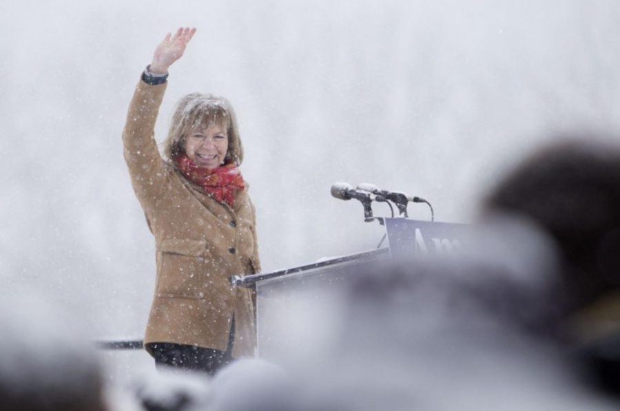 Sen. Tina Smith, D-Minn., waves to those who came out to support Amy Klobuchar's presidential bid on Sunday, Feb. 10, 2019 at Boom Island Park in Minneapolis.