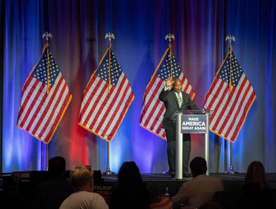 Kendall Qualls thanks the crowd after announcing his loss in the U.S. representative race at the GOP election night event in Minneapolis on Tuesday, Nov. 3.