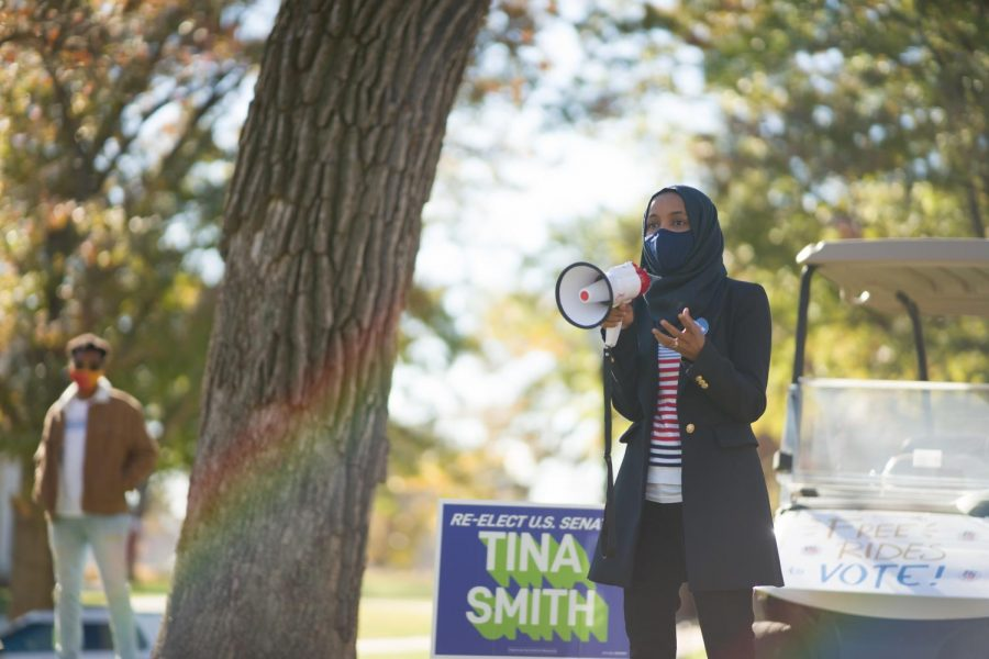 U.S. Congresswoman Ilhan Omar addresses a socially-distanced crowd at a student event at the Knoll on Tuesday, Nov. 3.