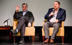 """City council members Cam Gordon, Ward 2, and Steve Fletcher, Ward 3, answer questions about affordable housing and share bad landlord experiences during a """"Housing Town Hall"""" event hosted by the MSA at Coffman Memorial Theater, Wednesday Jan. 31, 2018."""