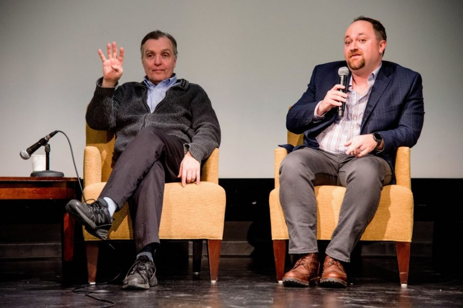 "City council members Cam Gordon, Ward 2, and Steve Fletcher, Ward 3, answer questions about affordable housing and share bad landlord experiences during a ""Housing Town Hall"" event hosted by the MSA at Coffman Memorial Theater, Wednesday Jan. 31, 2018."