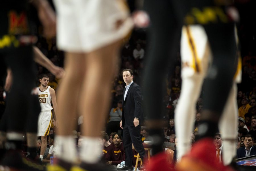 Gophers Head Coach Richard Pitino looks on from the sidelines during a free throw attempt at Williams Arena on Wednesday, Feb. 26. The Gophers entered the second half with a 47-31 lead over the Maryland Terrapins.