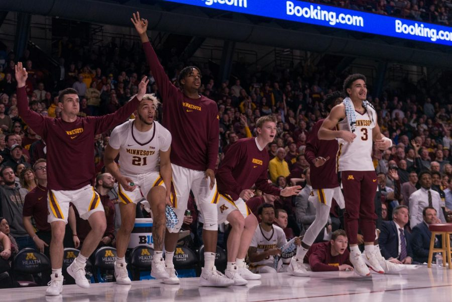 Players on the Gophers bench observe those on the court at Williams Arena on Wednesday, Jan. 15.  Minnesota defeated the Penn State Nittany Lions 75-69
