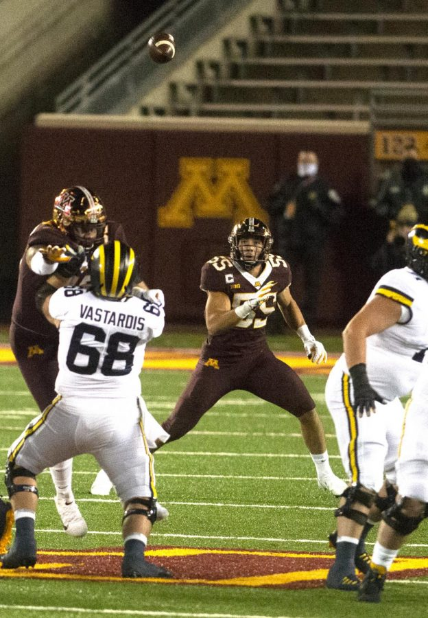 Gophers+linebacker+Mariano+Sori-Marin+follows+the+ball+at+TCF+Bank+Stadium+on+Saturday%2C+Oct.+24.+Minnesota+fell+to+Michigan+49-24+in+their+first+showing+of+the+season.