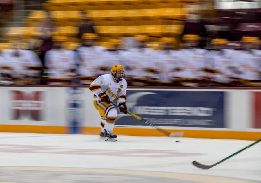 Gophers forward Ben Meyers approaches Penn State's goal during the final period at the 3M Arena at Mariucci on Thursday, Nov. 19.
