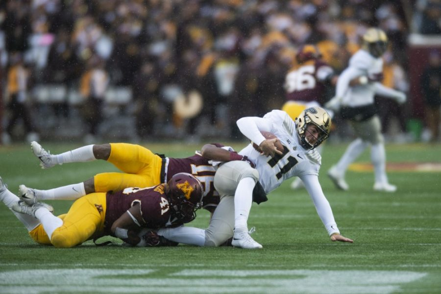 Thomas Barber and Coney Durr tackle Purdue on Saturday, Nov. 10 at TCF Bank Stadium. The Gophers beat the Boilermakers 41-10.