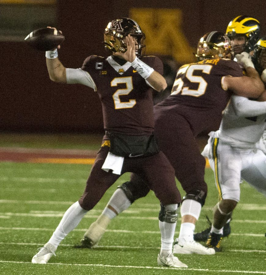 Gophers+quarterback+Tanner+Morgan+prepares+to+launch+a+pass+at+TCF+Bank+Stadium+on+Saturday%2C+Oct.+24.+Minnesota+fell+to+Michigan+49-24+in+their+first+showing+of+the+season.