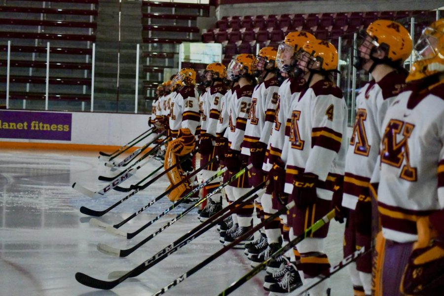 University+of+Minnesota+women%E2%80%99s+hockey+team+lines+up+before+their+game+against+Ohio+State+in+Ridder+Arena+on+Saturday%2C+Nov.+21.+The+Gophers+won+in+a+shut+out+with+an+ending+score+of+4-0.