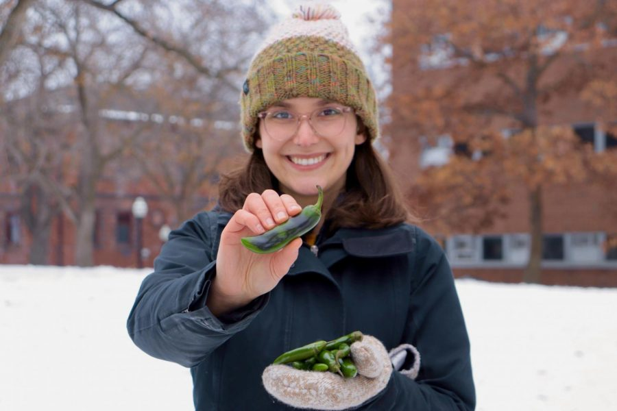 UMN Extension educator Natalie Hoidal poses with serrano and jalepeno peppers on the East Bank campus. Hoidal
