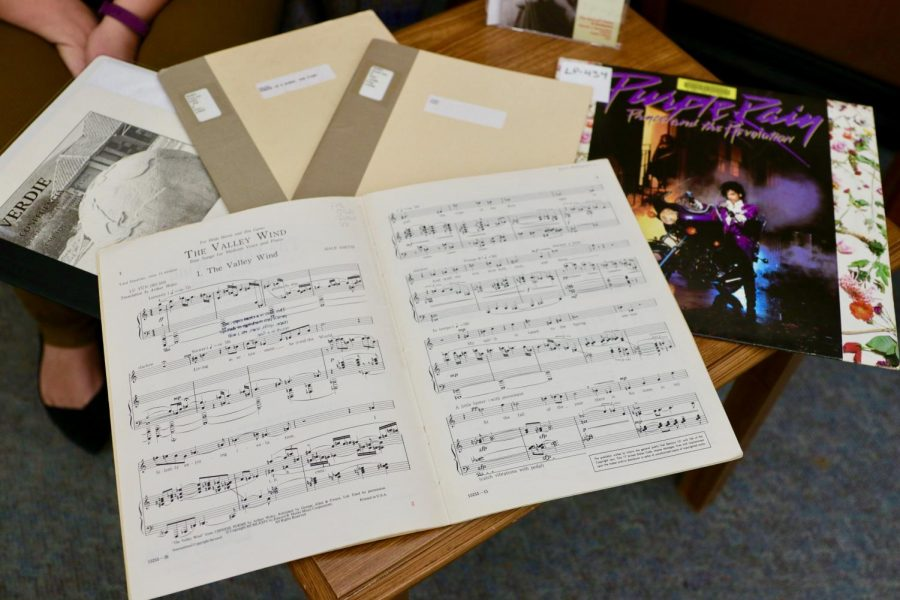 A few pieces from the University of Minnesota's Music Library are displayed in Wilson Library on Wednesday, Jan. 13. The collection ranges from classical sonata compositions to popular culture and local artists such as Prince.