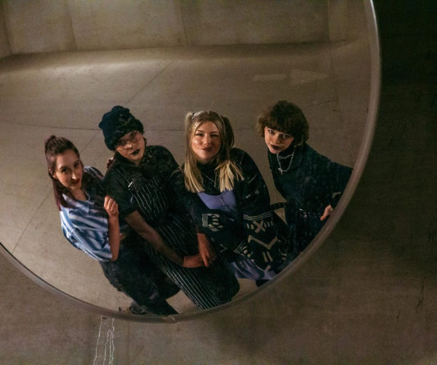 From left to right, Katie Fischer, Kate Kanfield, Taylor Kraemer, and KT Branscom, members of the local indie-punk band VIAL, pose for a portrait on Sunday, Jan. 31 in Minneapolis. VIAL is planning to release another album this summer.