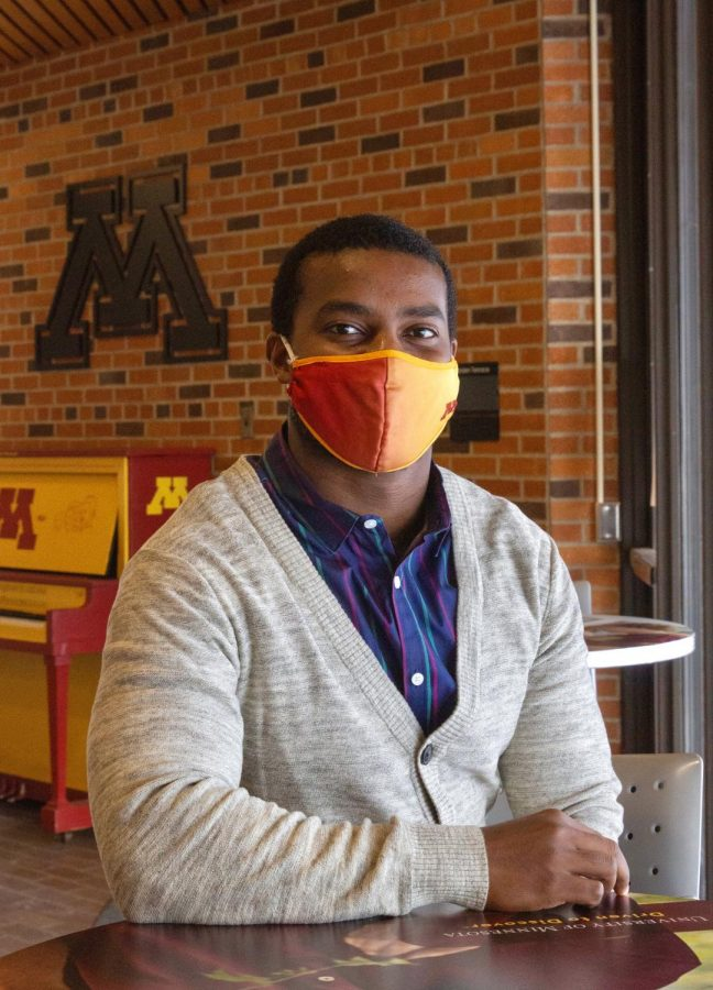 Antony Maikuri, a Ph. D. student in the College of Education and Human Development pursuing Evaluation Studies, poses for a portrait in the St. Paul Student Center on Thursday, Feb. 18.
