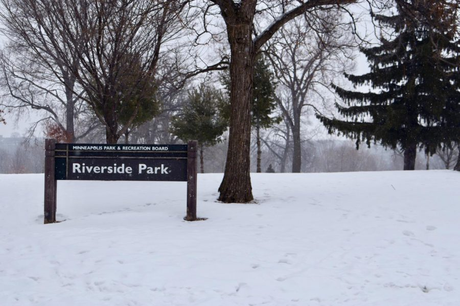 The Riverside Park sign on a snowy Sunday, Feb. 21. The Minneapolis Park Board voted for $400,000 to go toward youth outreach to help prevent violence. $50,000 will go to youth outreach in Cedar-Riverside.
