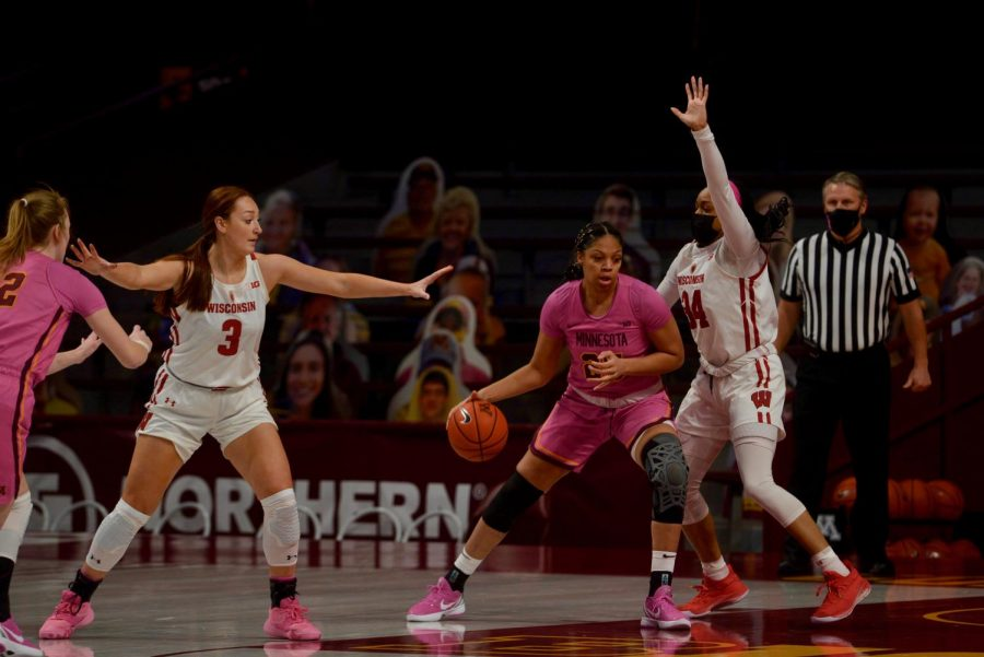 The Gophers Women's Basketball Team plays their second consecutive Play4Kay game with pink uniforms in Williams Arena on Sunday, Feb. 14.  The Gophers beat the Wisconsin Badgers 68-63.