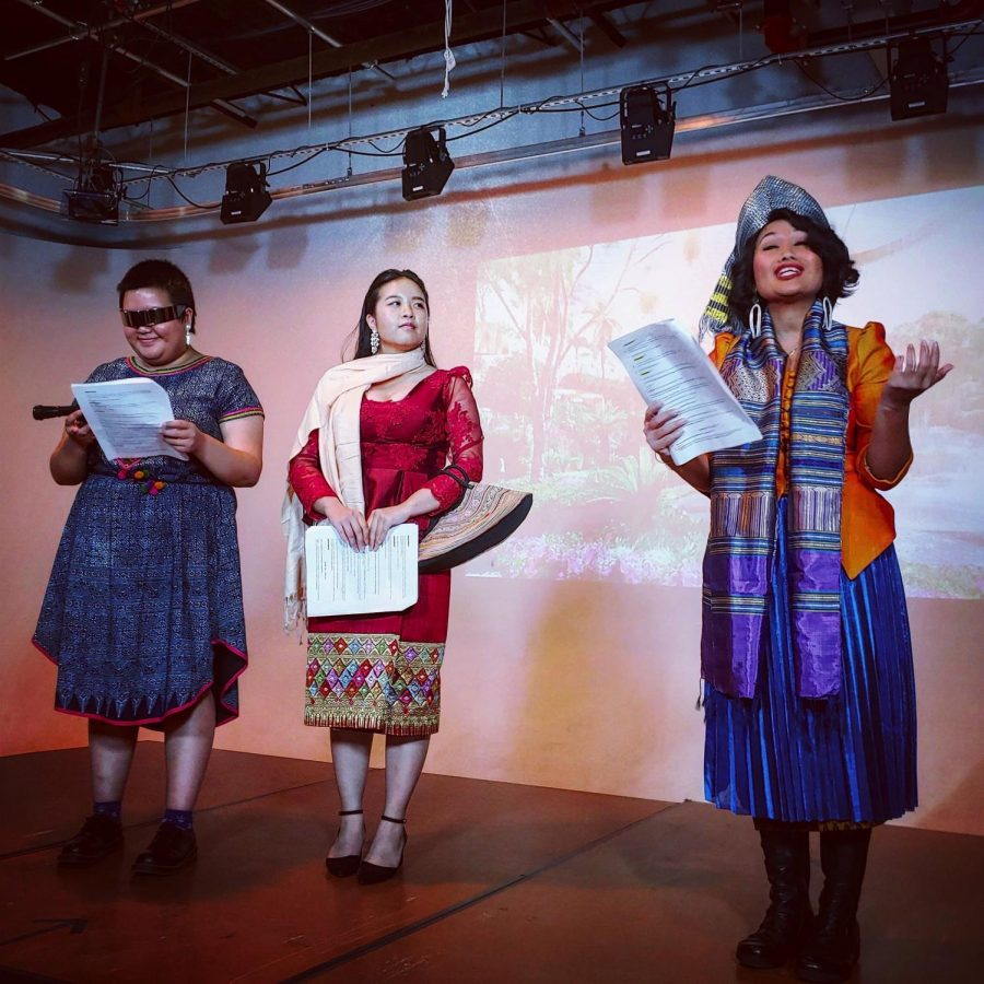 "Sunny Thao, Hongfa Norasingh, and Kaysone Syonesa perform a play called ""Naga Village"" in the 2019 SEAD Project Gala."