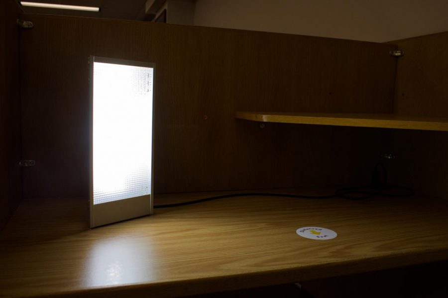 A SAD Lamp station in Magrath Library on Tuesday, Feb. 2. MSA is hoping to make SAD Lamps available to more students.
