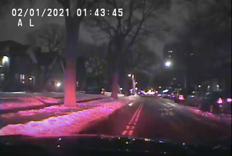 A screenshot from UMPD vehicle footage on Monday, Feb. 1.