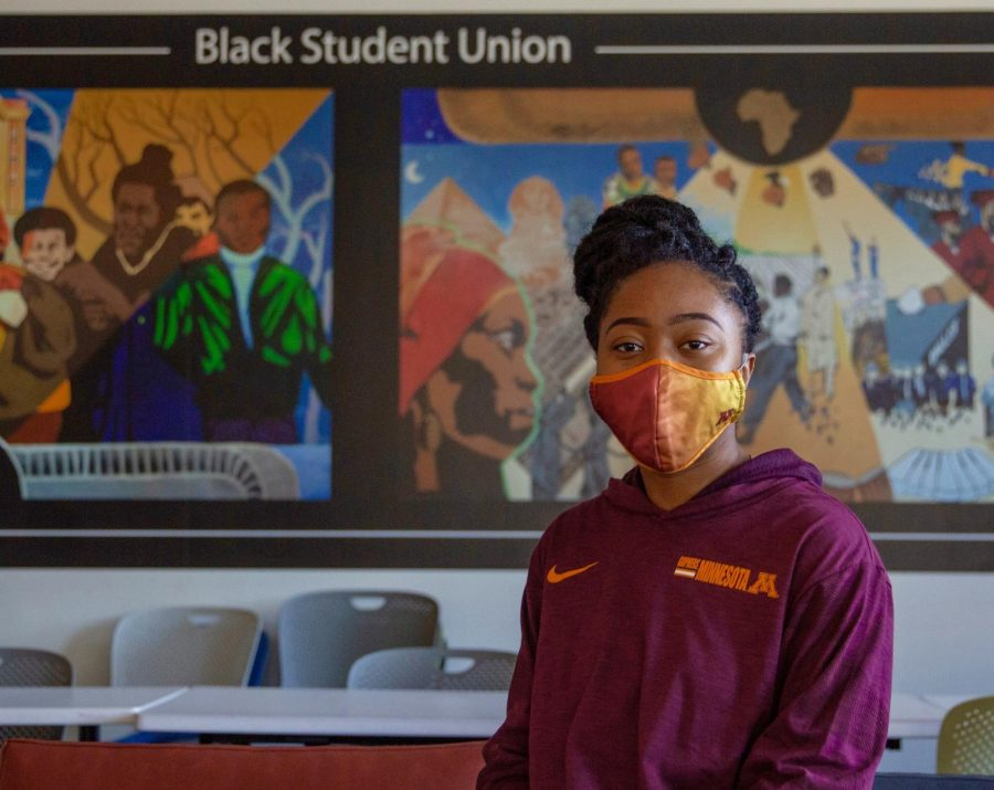 Black Student Union president Samiat Ajibola poses for a portrait in the BSU room at Coffman Memorial Union on Wednesday, Feb. 24. A junior pursuing a Bachelor of Science in Sociology, Ajibola hopes to continue her education with a Masters in Public Health at the U.