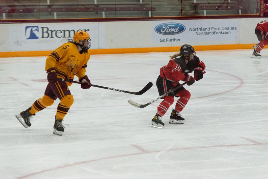 Gophers defenseman Madeline Wethington pursues an opponent at Ridder Arena on Sunday, Nov. 22. The Gophers ultimately fell to the Ohio State Buckeyes 2-1.